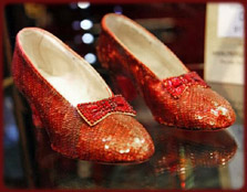 The original ruby slippers worn by Judy Garland as Dorothy in The Wizard of Oz